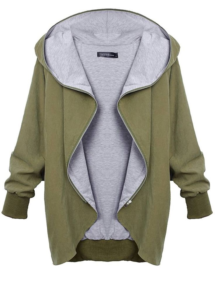 Women Autumn Casual Hooded Large Size Thin Jackets Outerwear Coat at Banggood