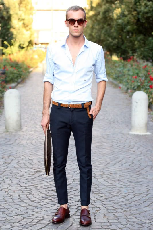 Light blue shirt, navy trousers, monk straps and sockless. must be that summer look. #style