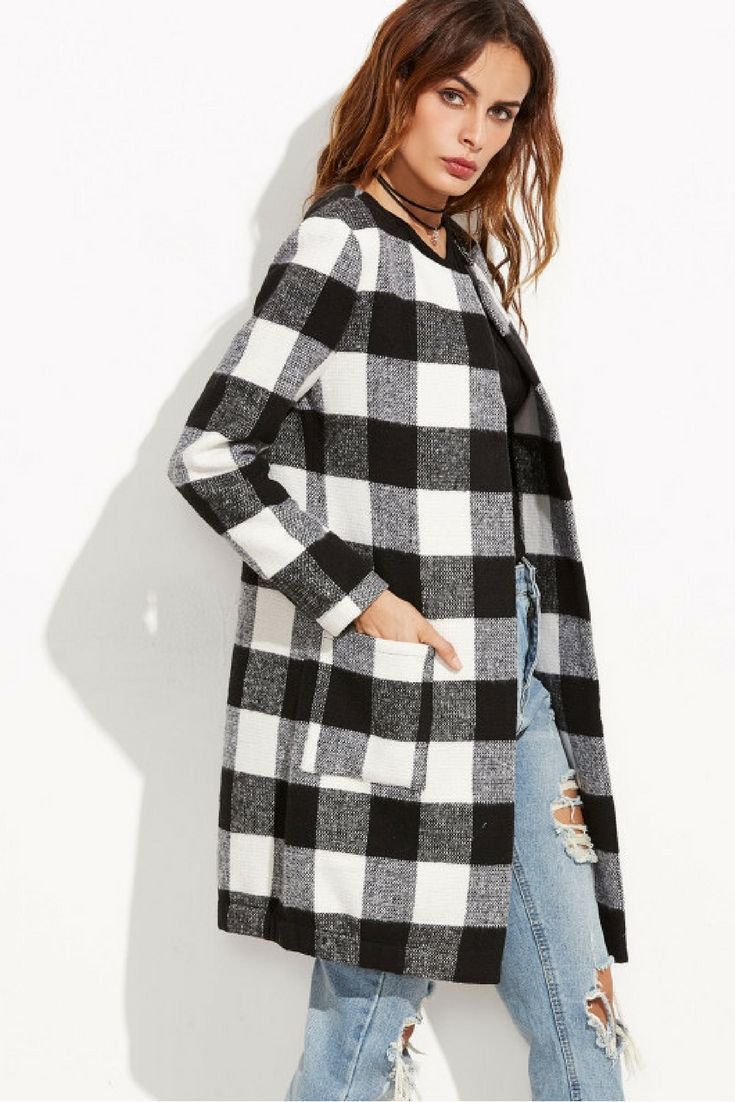 06d651dfdb0 Womens Winter Coats Checkered Open Front Collarless Coat Casual Outerwear  #ad