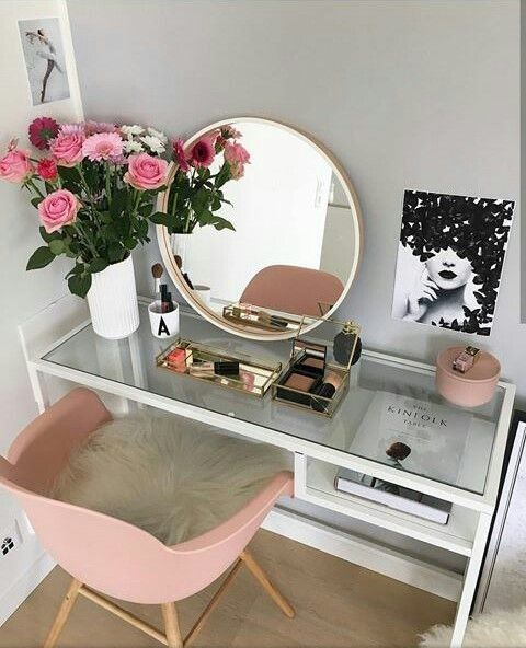 Desk, make up, vanity, round mirror, pink chair, vase, flower. Storage, bedroom, girls room, teen girl room, dressing room, office, bedroom, chic, wall art, pink and white, home decor,  office #afflink