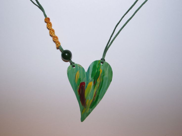 Handmade alpaca metal necklace painted with acrylic colors in heart design decorated with jade stone and macrame knot by Creationsbyzoi on Etsy