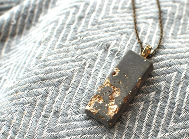 Gold Leaf and Concrete Pendant Necklace, Rustic Modern Jewelry