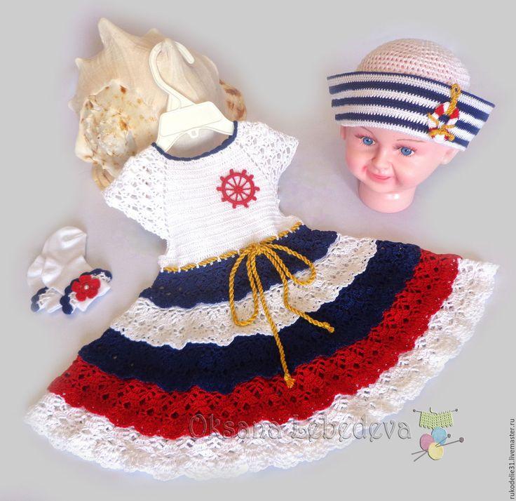 Купить Комплект Платье шляпка летнее для девочки Морячка крючком белый синий - триколор