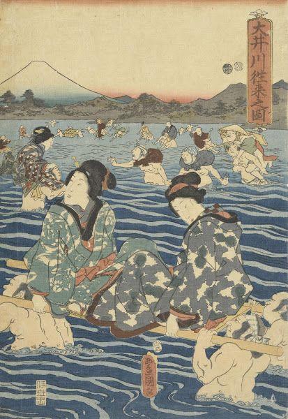 Afbeelding van tweerichtingsverkeer op de rivier Ōigawa, rechterblad van triptiek, 1853, Utagawa Kunisada, Van Gogh Museum, Amsterdam (Vincent van Gogh Stichting)