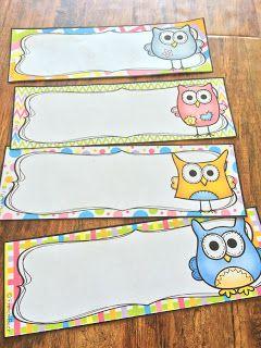 Nouveau décor pour la classe : les hiboux ! Étiquettes pour écrire le nom des élèves.