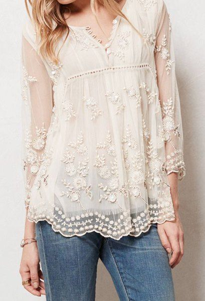 Chic Women's Round Neck See-Through Flower Embroidery Long Sleeve Blouse