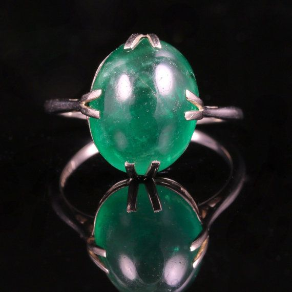 Victorian Emerald Ring Arts Crafts 7ct Emerald by LaurelleLtd