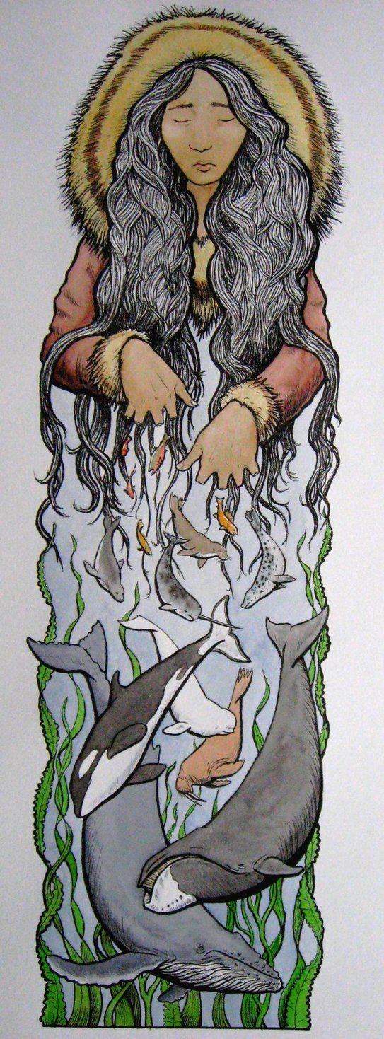 Sedna by Kacie987. Sedna, Inuit Goddess of the Deep Sea, was forced to descend to Adlivum, the Land of the Dead. A shaman must descend to Sedna and soothe her by massaging her aching limbs and combing her hair. Only when she is properly comforted will Sedna permit the shaman to return to the people and inform them that she will send the animals to be hunted so that they will not face starvation.