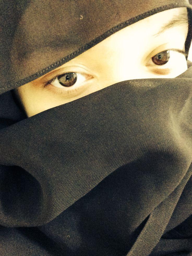 Black shawl turned into niqab