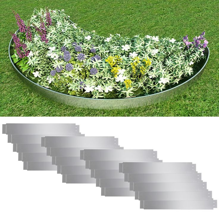 Rasenkante-Stahl-verzinkt-15cm-Beetumrandung-Beeteinfassung-Maehkante-flexibel