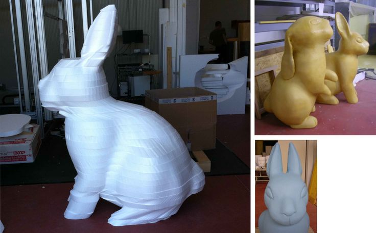 WITH AVANT YOU CAN CARVE BLOW BY BLOW  THANKS TO  UNIQUE CUTTING TYPOLOGY CALLED 3D CONCEPT FOR STRATIFICATION, YOU CAN REALISE COMPLEX 3D SOLID.  SOLID IS BROKE UP AND WORKED IN LONGITUDINAL SECTIONS THANKS TO THE ADVANCES SOFTWARE AVANT.  THE RABBIT IN THE IMAGE, COMPLETELY ELABORATED WITH AVANT, IS IMMEDIATELY READY TO BE DECORATED