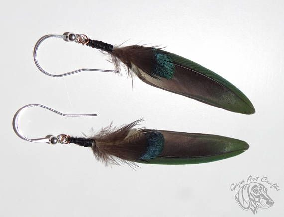 Natural green feathers earrings with iridescent blue - green hue, Natural feather earring, Boho style earrings, Hippie style earrings