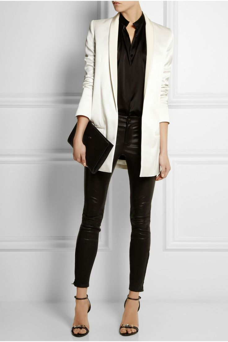 HAIDER ACKERMANN Cotton and silk-blend satin tuxedo jacket: Tuxedo Jackets, White Tuxedos Jackets, White Blazers, Satin Tuxedos, Silk Blend Satin, White Jackets, Haider Ackermann Cotton, Leather Pants, Satin Pants