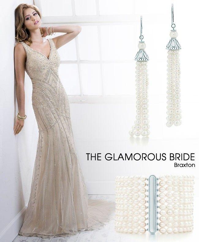 86 best Art Deco Wedding Dresses images on Pinterest | Short wedding ...