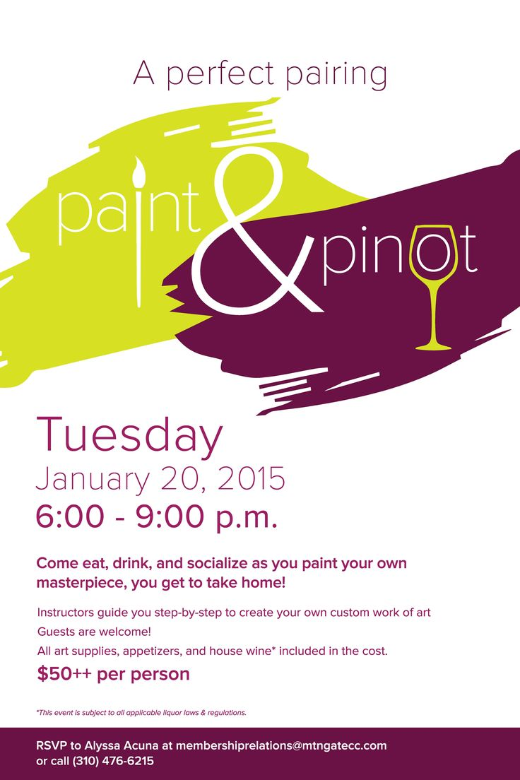 paint amp pinot flyer poster template art wine and fun