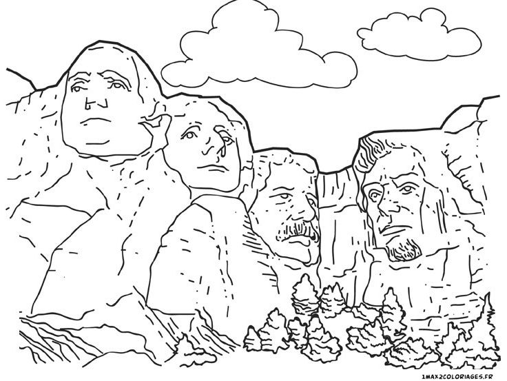 coloriage mont rushmore coloring 5 pinterest mont rushmore and monuments. Black Bedroom Furniture Sets. Home Design Ideas
