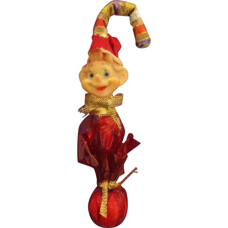 Unusual old elf Christmas candy cane ornament knee hugger rubber elf face vintage 1960! Cute 6' tall approx.