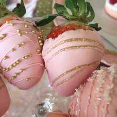 Pink and Gold Blinged Strawberries                              …