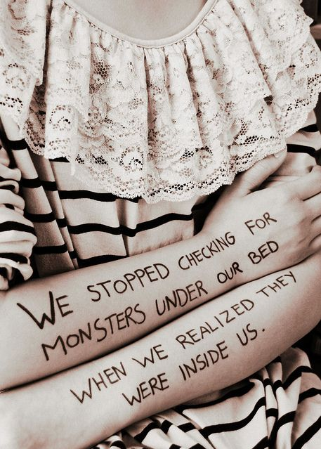 Powerful. I love quotes that make you think. Monsters lie within each of us=truth
