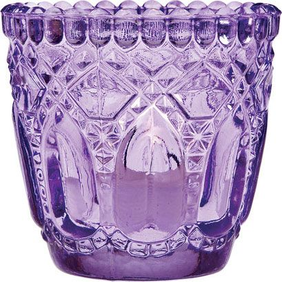 Purple Vintage Glass Candle Holder (faceted design)---great site to find vases in every color. Martha Stewart approved.