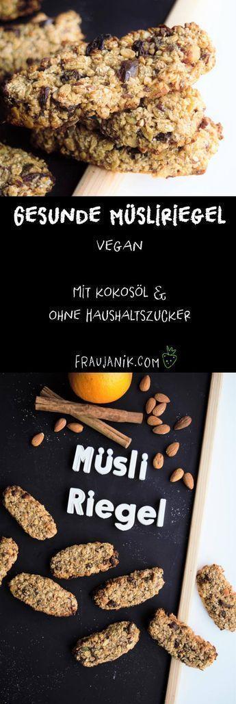Machen Sie sich gesunde Müsliriegel vegan – mit Kokosöl, ohne Zucker …   – Vegane Rezepte