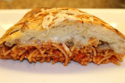 Braided Spaghetti Bread - Spaghetti, meatballs, and garlic bread in each bite!