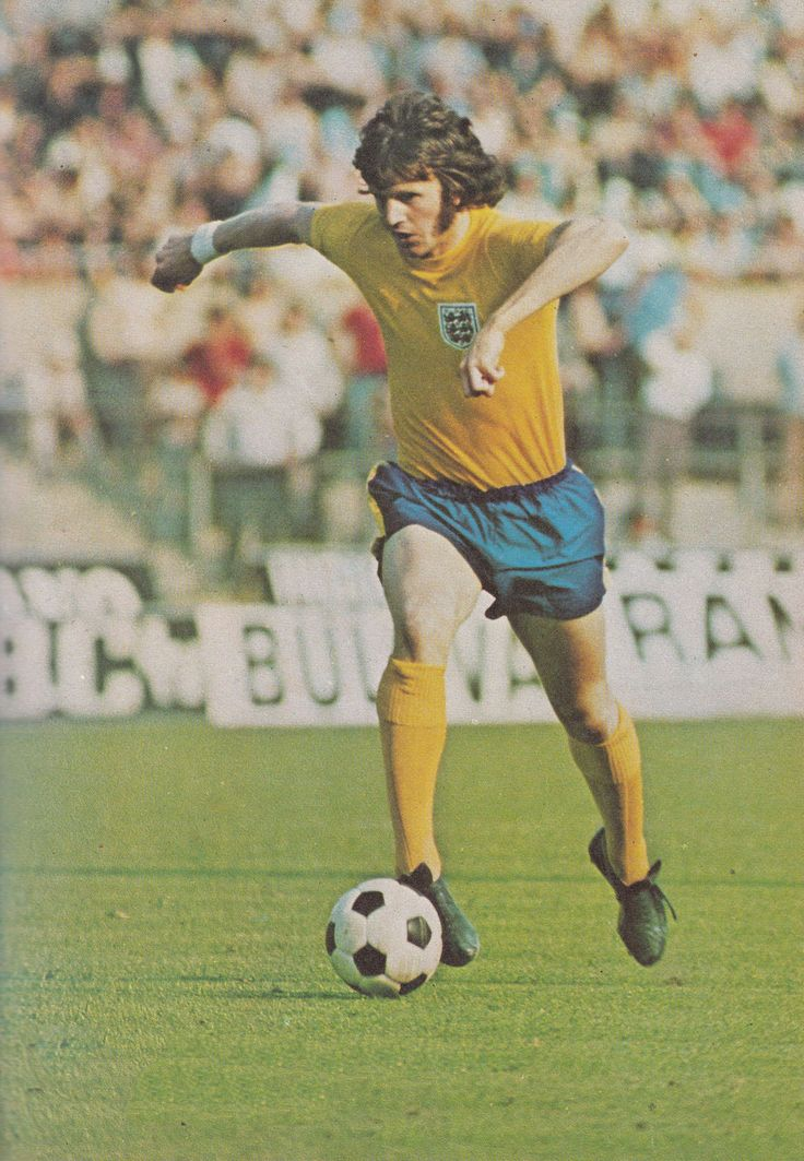 14th June 1973. Southampton striker Mick Channon in action against Italy wearing England's ill feted yellow and blue kit.
