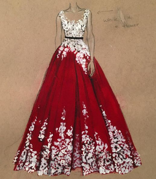 The dresses she always wanted to wear in her life were painted by Dubai fashion designer 3Alya :) …