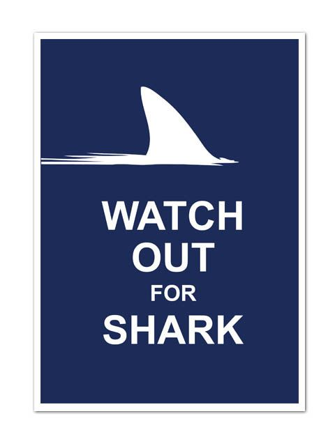 Watch Out for Shark  A4 8X10 Poster Art Print by ArtChingH on Etsy, NT$307.00