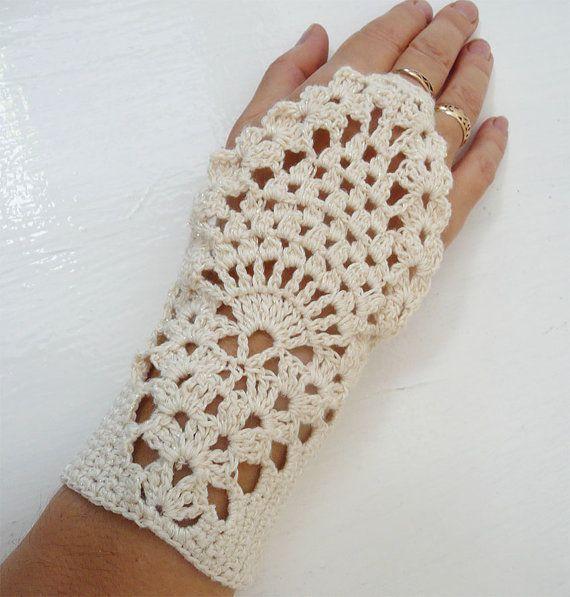 Milk White Crochet  Fingerless Gloves Mittens Hand by MilenaCh, $28.00