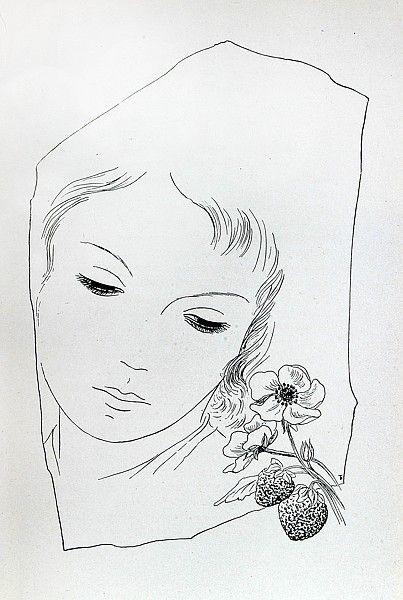 Toyen Dívka s jahodami zinkografie, 1944