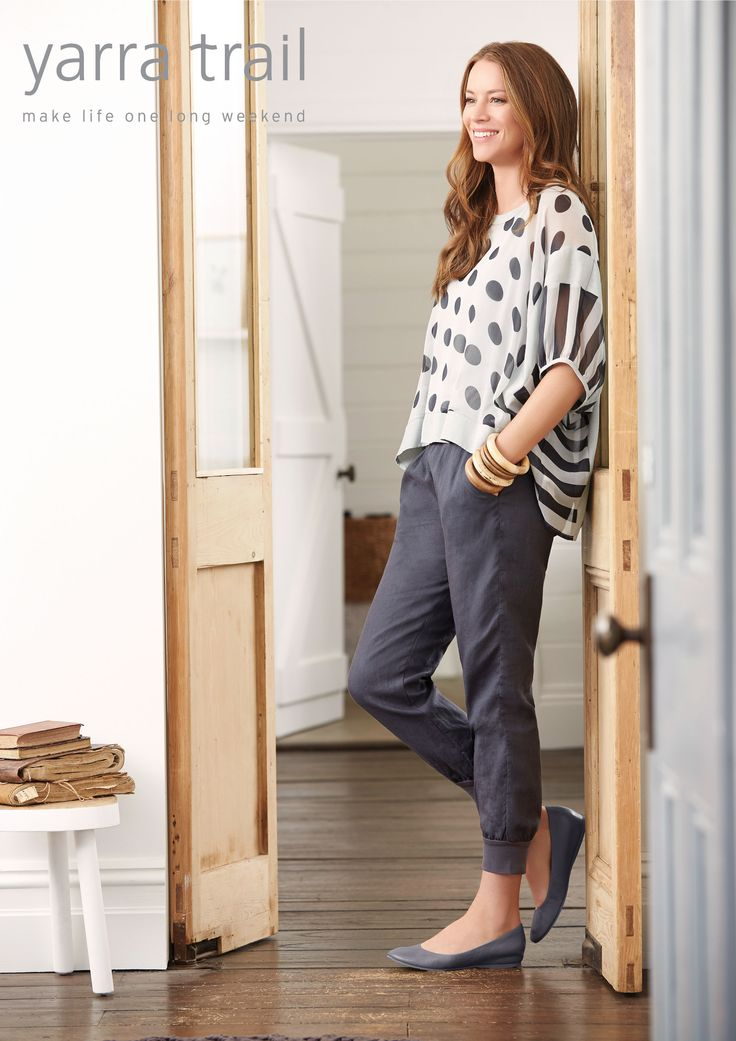 Play with prints this season with our stunning Drape Overshirt in a Mixed Spot/ Stripe Print. Styled in a relaxed fit, this easy-to-wear piece features contrast banding, round neckline and detachable slip. Feminine and flowing style with linen pants for all day comfort. Shop Now http://www.yarratrail.com.au/