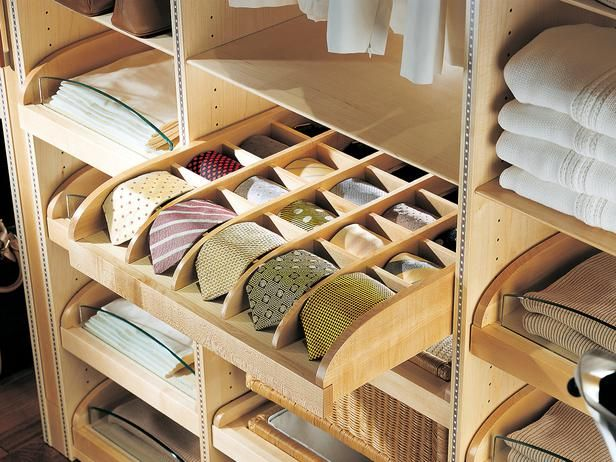 Built-In Drawer Insert for Ties. Dream Closet Ideas from HGTV --> http://www.hgtv.com/bedrooms/how-to-make-your-walk-in-closet-resemble-a-chic-boutique/pictures/page-3.html?soc=pinterest