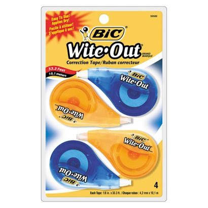 BIC Wite Out 4-count Correction Tape Set  - Yellow/Blue