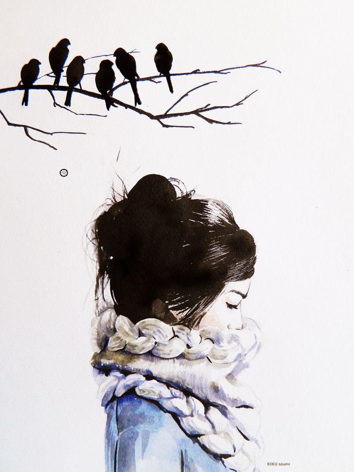"""Посмотреть иллюстрацию Татьяна Панина - """"Мысли"""".. Все свои мысли  укутала в…"""