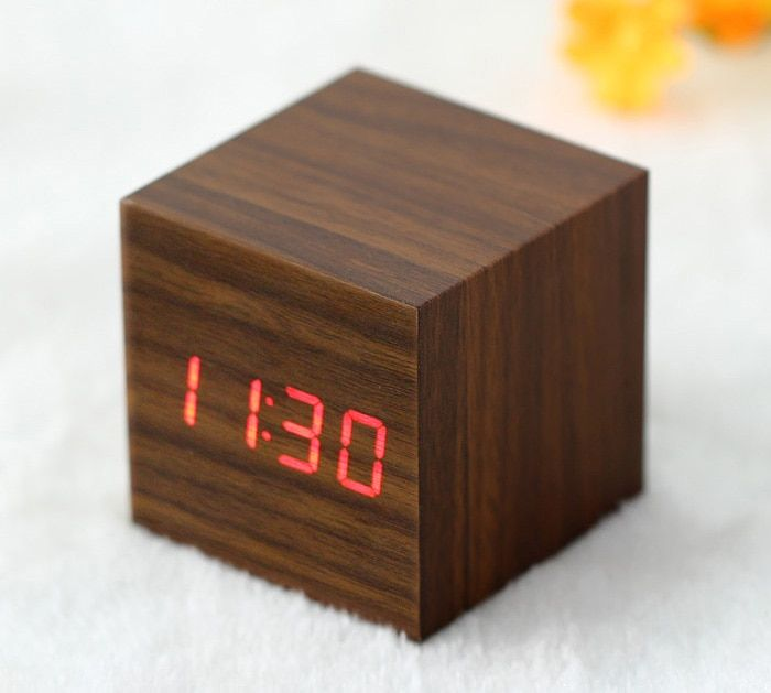 Wooden Square Red LED Digital Alarm Clock -$10.99 Online Shopping| GearBest.com
