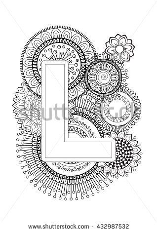 Doodle Floral Letters. Coloring Book For Adult. Mandala