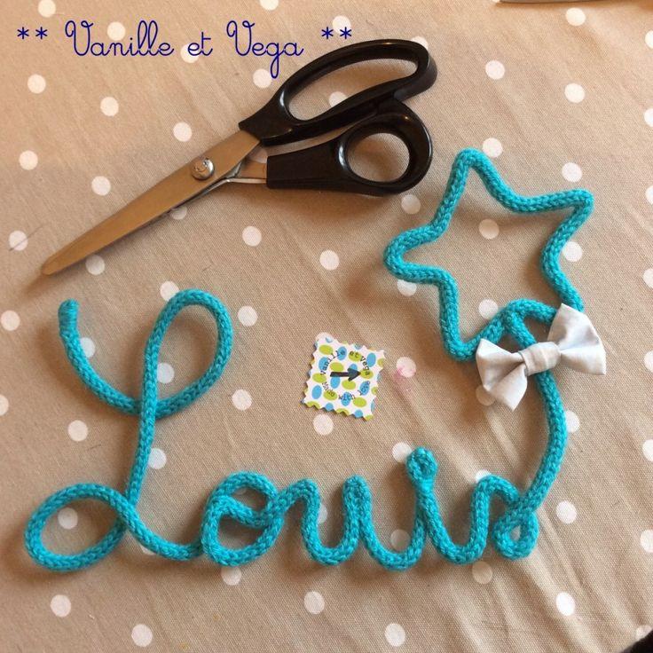 Forme et prénom en tricotin - Vanille et Vega