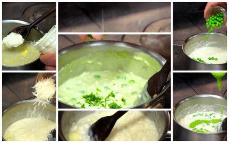 Remove from heat and stir in butter, mascarpone, parmesan, pea puree, whole peas and fresh diced mint. Add lemon and salt to taste.