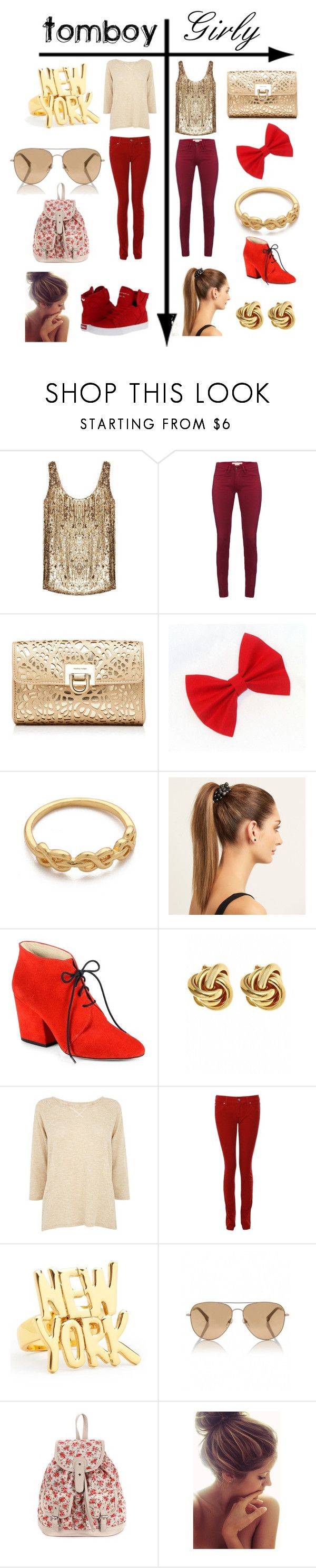 """""""Tomboy vs. Girly: Gold & Red"""" by mustachiopistachio ❤ liked on Polyvore featuring ZoÃ« Jordan, French Connection, Forever New, Gorjana, Mimco, Kate Spade, Fornash, Oasis, Armani Jeans and Michael Kors"""