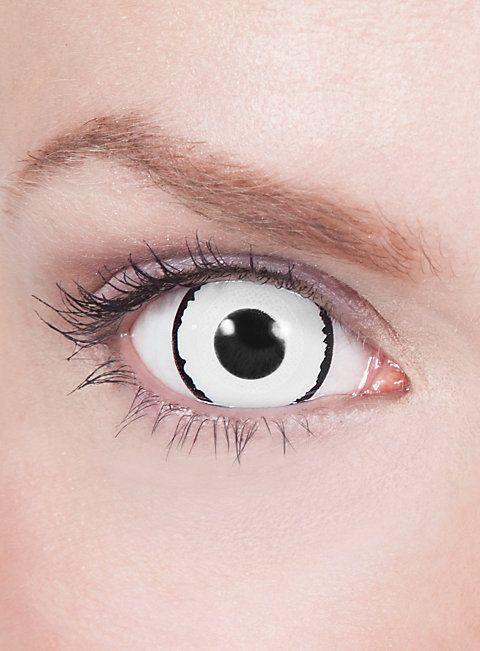 Mini-Sclera weiß-schwarz Kontaktlinsen