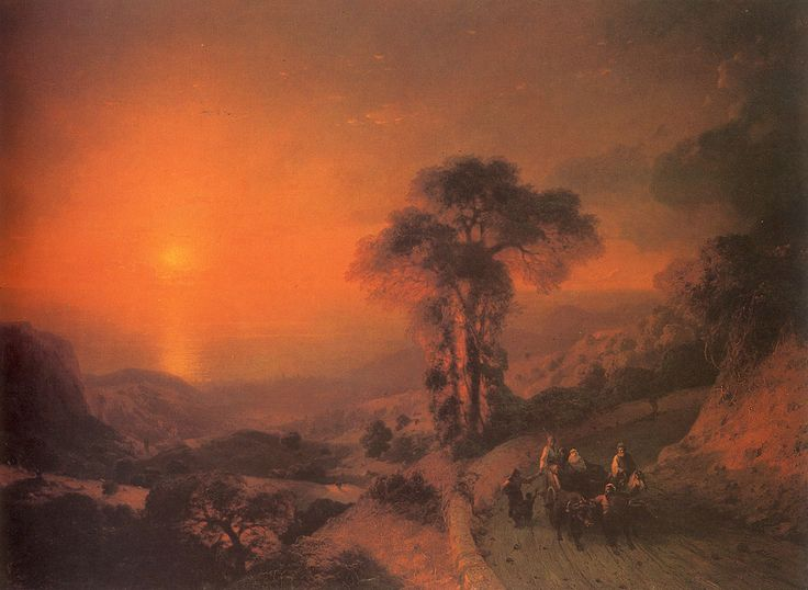 Ivan Konstantinovich Aivazovsky.  Title: View of the Sea from the Mountains at Sunset, Crimea, Original Size: 122 x 170 cm, Date: 1864, Location: St. Petersburg, Russian Museum - Buy this painting as premium quality canvas art print from Modarty Art Gallery #art, #canvas, #design, #painting, #print, #poster, #decoration