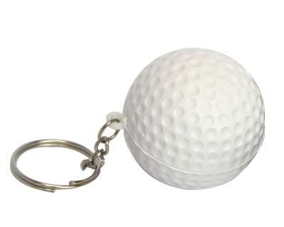GOLF BALL KEYRING – S30  Price includes 1 color, 1 position print   2 Color imprint available for an additional charge  Decoration option: Pad print  Print Size: 17mm (D)  Product Size: 40mm (D)