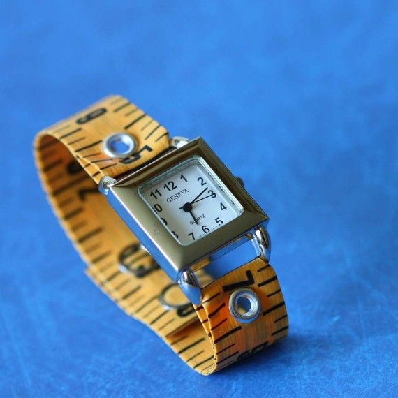 Tape Measure Watch in Orange by undoneclothing on Etsy