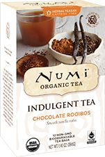 Numi Organic Tea Chocolate Rooibos | Smooth South African rooibos is enveloped by creamy real vanilla beans, sweet honeybush and rich cacao. This sensual treat is a delightful, soothing beverage you can melt into.