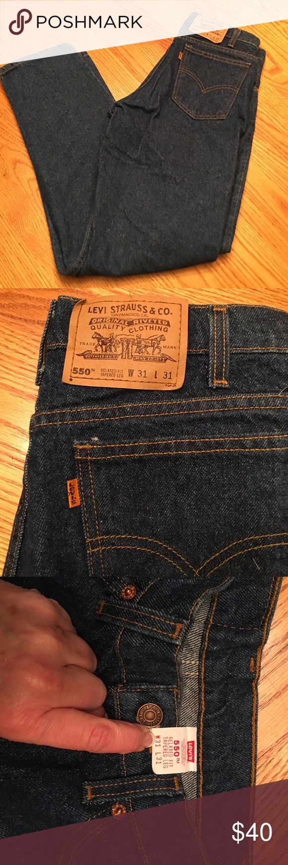 NWOT Levi 550 Orange Tab Relaxed Fit Tapered Leg NWOT. Rare orange tan Men's Levi's 550's Relaxed Fit Tapered Leg Jeans. 31x31. Never worn. Excellent condition. Levi's Jeans Relaxed