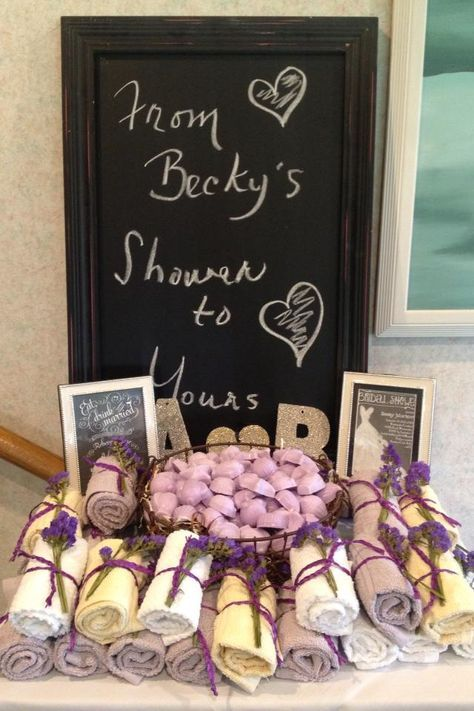 Bridal shower favors little soaps and towels. Could get Christmas themed soaps and red and white towels!