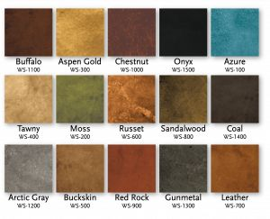 Living Earth Water Based Concrete Stain Color chart.