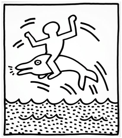 Figure and Dolphin II by Keith Haring  https://artsation.com/en/shop/keith-haring