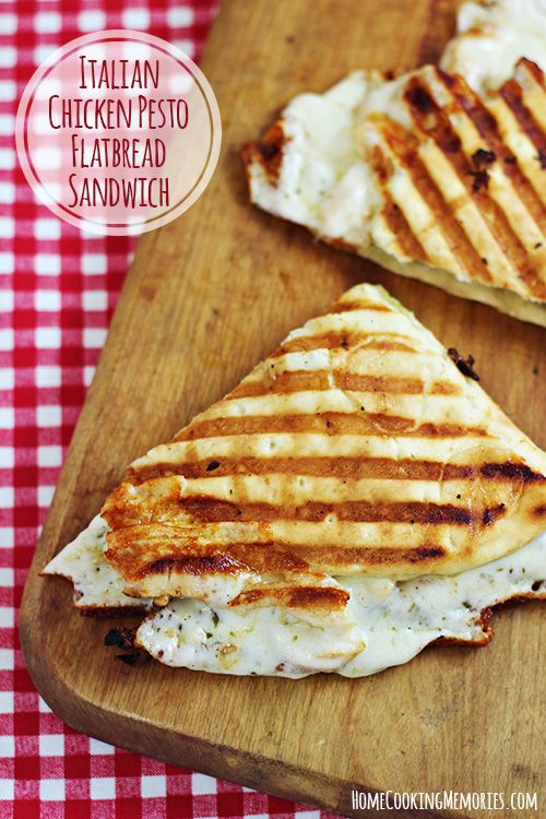 Italian Chicken Pesto Flatbread Sandwich --pull out that panini maker, because this is one sandwich youre gonna want to make!